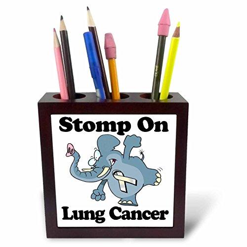 3dRose ph_114587_1 Elephant Stomp on Lung Cancer Awareness Ribbon Cause Design-Tile Pen Holder, 5-Inch
