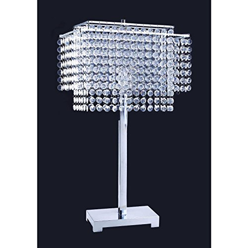 Crystal Strings Table Lamp - SILVER (Silver Table Lamp With Crystals)