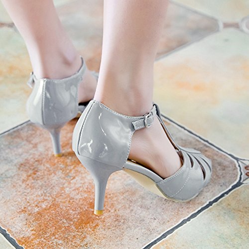 mujer T TAOFFEN Thin Sandals Strap para Summer Heel Toe Gray Party Moda Peep High Buckle wxUqUZTX