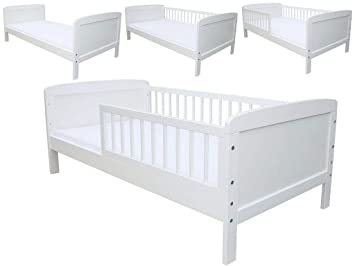Kinderbett juniorbett 160x70 cm mit matratze umbaubar weiss: amazon