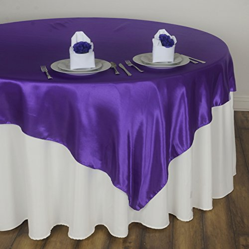 Dark Purple Satin - BalsaCircle 5 pcs 72x72 inch Purple Square Tablecloth Satin Table Overlays Linens for Wedding Table Cloth Party Reception Events Kitchen Dining