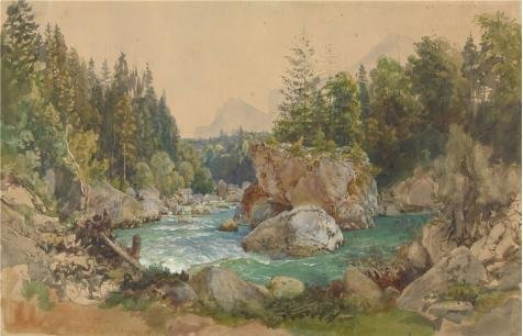 Oil Painting 'Wooded River Landscape In The Alps,about 1850 - 1870 By Thomas Ender' Printing On Perfect Effect Canvas , 30x47 Inch / 76x119 Cm ,the Best Wall Art Gallery Art And Home Gallery Art And Gifts Is This Imitations Art DecorativePrints On - Aqua Stripe Wall Sconce