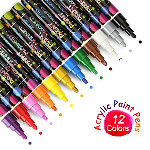 Acrylic Paint Pen, AGPtEK Acrylic-Based Paint Makers Set of 12, Water-Based, Fast-Drying and Acid-Free Opaque Ink for Most Object Surfaces (Fast Drying Paint)