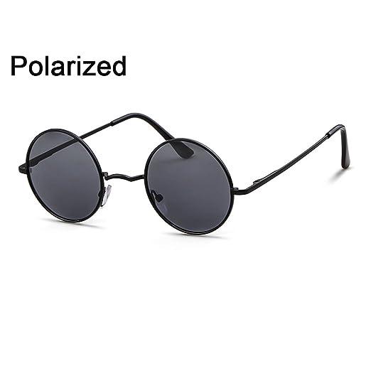 f2eb883528 Hippie Glasses Men Women Round Circle Polarized Sun Glasses(Black Grey