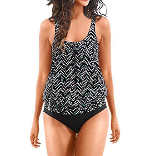 (COOKI Women Swimsuit Floral Printed Tankini Top Bikini Swimwear Two Piece Bottoms Tankini Swimsuits Bathing Suits)
