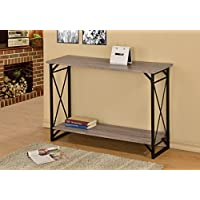 Weathered Sonoma Oak Finish 3-Tier Metal X-Design Occasional Console Sofa Table Bookshelf