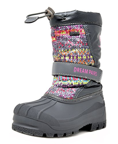 DREAM PAIRS Little Kid Kamick Grey Multi Mid Calf Waterproof Winter Snow Boots Size 13 M US Little Kid