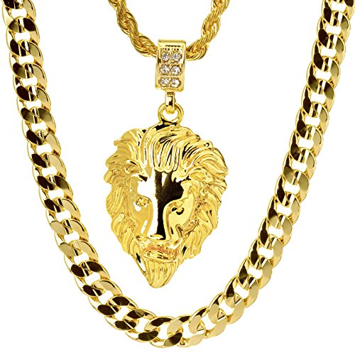 Metaltree98 14kt Gold Plated Lion Head Pendant 22