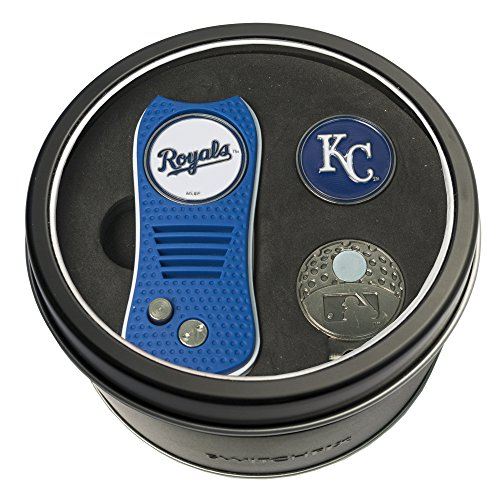 Team Golf MLB Kansas City Royals Gift Set Switchblade Divot Tool, Cap Clip, & 2 Double-Sided Enamel Ball Markers, Patented Design, Less Damage to Greens, Switchblade Mechanism ()