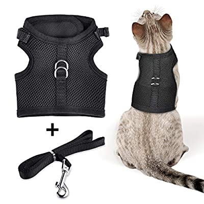 The Creativehome Cat Puppy Harness with Leash Escape Proof Adjustable Breathable Soft Air Mesh Vest Harness for Walking Outdoor.Black