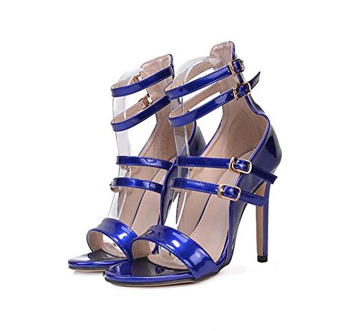 40 5cm Blue Eu corte D'orsay vestir zapatos de de sandalias Toe correa hueco bomba Mujeres Roma zapatos 34 Encantador tobillo hebilla 11 de Peep de talla zapatos la Stiletto Rw6qxnEpfS