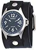 Nemesis LBB251K Men's Signature Sapphire Collection Black Dial Wide Leather Band Watch