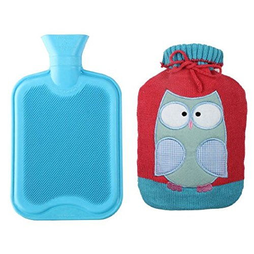 Premium Classic Rubber Hot Water Bottle w/Cute Knit Cover (2 Liter, Blue/Red with Owl) - Pink 2012 Owl