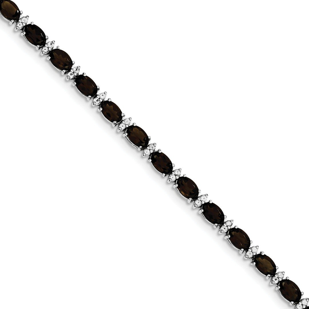 ICE CARATS 925 Sterling Silver Smoky Quartz White Topaz Bracelet 7 Inch Gemstone Fine Jewelry Ideal Mothers Day Gifts For Mom Women Gift Set From Heart by ICE CARATS (Image #1)
