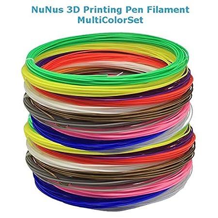NuNus ABS Filamento 3,00mm Multicolor Set 7 colores cada 5 metros ...