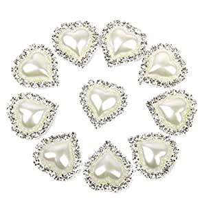 Tinksky 10pcs heart shaped rhinestone pearl glue on for Best glue for pearl jewelry