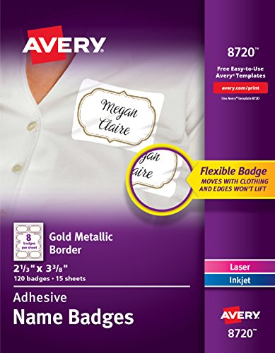 Avery Self-Adhesive Removable Name Tag Labels, Gold Metallic Border, 2-1/3