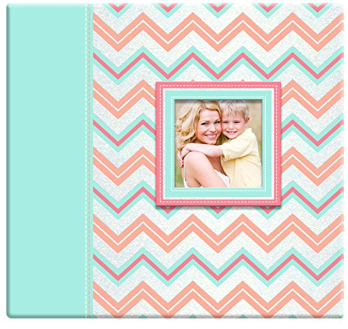 MCS MBI 13.5x12.5 Inch Pastel Glitter Chevron Scrapbook Album with 12x12 Inch Pages with Photo Opening, Pink and Teal (860116)