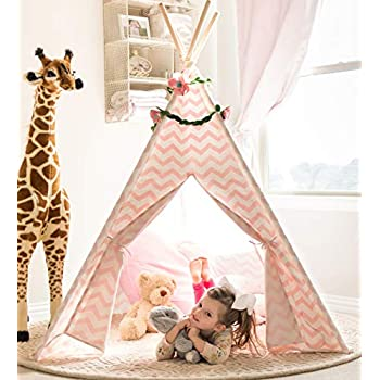 finest selection 148a3 0d952 Tiny Land Teepee Tent for Kids - Girls Play Tent Pink Chevron Cotton Canvas  Tipi