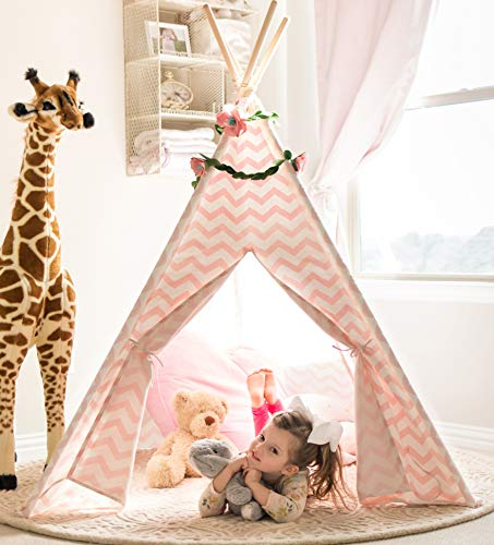 Tiny Land Teepee Tent for Kids - Girls Play Tent Pink Chevron Cotton Canvas Tipi -