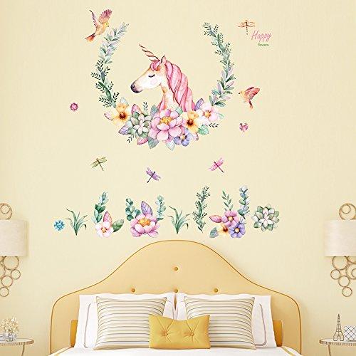 Xiton Unicorn Wall Sticker Children Bedroom Wall Art Stickers Purple Unicorn with Stars Sticker for Wall 1Pc