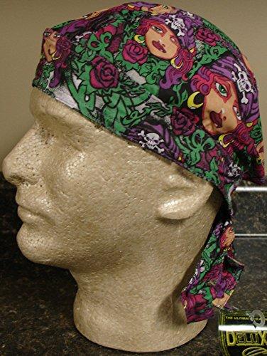 Danbanna Deluxe Pink Green Purple Black Pirate Girl Swashbuckler Bandana Headwrap Headscarf Adjustable Cap Hat Terry Cloth Sweatband By Capsmith