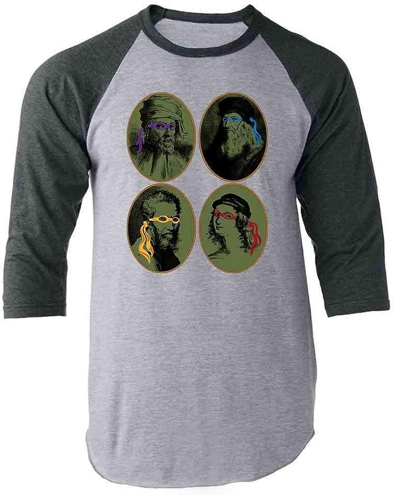 Italian Renaissance Ninja Artists Parody Funny Raglan Baseball Tee Shirt