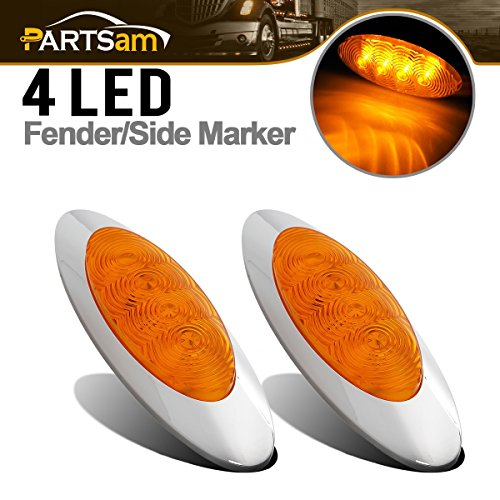 (Partsam Universal 2pcs Side Marker Light Cab Clearance For Freightliner Coronado/Columbia Panel)