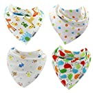Esiputs Baby Bandana Drool Bibs - Colorful 4-Pack Gift Set - (Unisex)