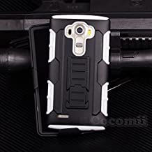 LG G4 Case, Cocomii Robot Armor NEW [Heavy Duty] Premium Belt Clip Holster Kickstand Shockproof Hard Bumper Shell [Military Defender] Full Body Dual Layer Rugged Cover (White)
