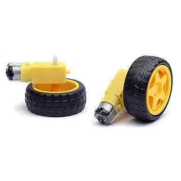 cylewet 2pcs rueda neumático de plástico con doble eje motor de engranaje para Smart Car Robot