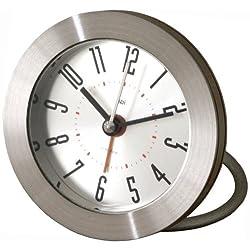 Bai Round Diecast Solid Metal Travel Alarm Clock, Cyber
