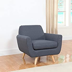 Mid Century Modern Linen Fabric Living Room Accent Chair (Dark Grey)