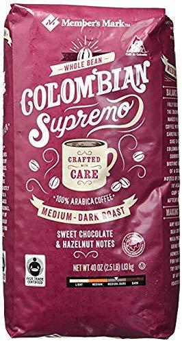Member's Mark Colombian Supremo Whole Bean Coffee (40 OZ), Sweet Chocolate & Hazelnut Notes, 40 oz, Medium Dark Roast