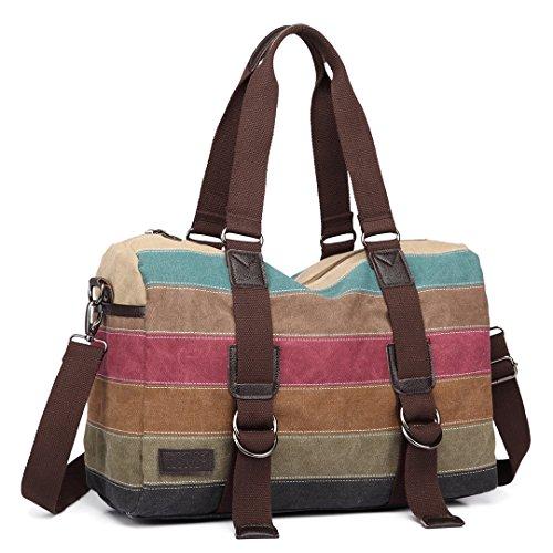 Kono Women Canvas Rainbow Multi-Color Striped Hobo Handbag Cross Body Messenger Shoulder Bag Satchel (1710) by Kono