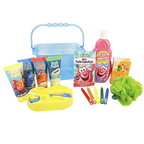 Deluxe Bath Toys Gift Set with Storage Organizer Bucket Filled with Mr Bubble Bath, Mr Bubble Fizzing Bath Crackles, Bath Crayons, Bath Finger paint, Sudzing Watermelon Soap Bar, & Body (How To Crackle Paint)