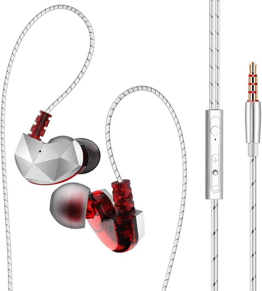 WYKsoku Bluetooth Earphones Headphones, QKZ CK6 Universal HiFi Bass in-Ear Wired Earphones Sports Headsets with Mic - Red