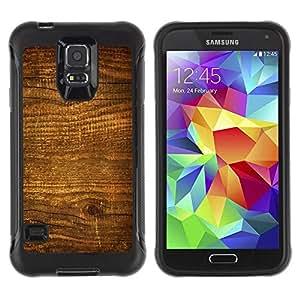 Suave TPU Caso Carcasa de Caucho Funda para Samsung Galaxy S5 SM-G900 / Wood Nature Pattern Texture Brown Wall / STRONG