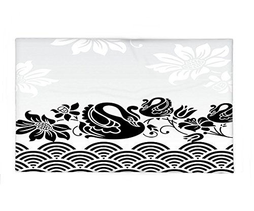 [Interestlee Fleece Throw Blanket Animal Decor Collection Black Swans Couple Swimming in Abstract Waves with Swirling Flowers Floral Art Pattern Black White] (7 Swans A Swimming Costume)