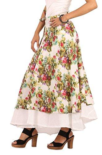 THE HAREM STUDIO Ths Womens Girls Cotton Casual Dress Skirt - Wrap Around Style (White) (Balloon Skirt Dress)