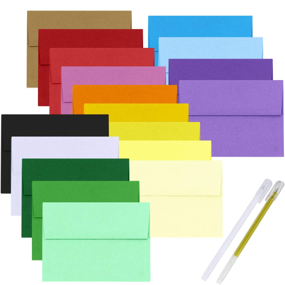 Supla 90 Pcs 18 Color A7 Envelopes Invitation Envelopes Business Envelopes Blank Envelopes Square Flap Envelopes 5-1/4 X 7 1/4 for Wedding Birthday 5 x 7 Photo Note Message Card Making Supplies by Windiy