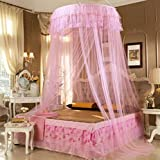 FamilyShop Antique Style Princess Bed Canopy Mosquito Net Netting NEW Bedroom Mesh Curtains (Pink)