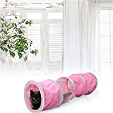 Cat Tunnel Toys Foldable Cat Play Tue Long Tunnel Cat Toys Pink