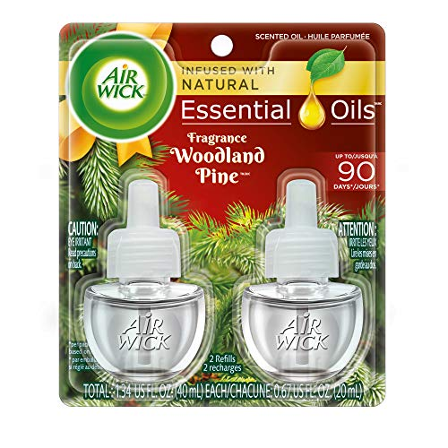 Air Wick plug in Scented Oil 2 Refills, Woodland Pine, (2x0.67oz), Essential Oils, Air Freshener