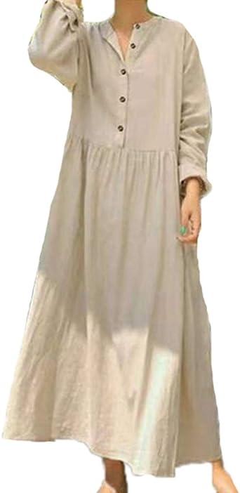 Mujeres Falda Larga de Color Sólido Vestido de Tubo Suelto Ancho de Gran Tamaño Vestido de Algodón con Botón de Lino: Amazon.es: Ropa y accesorios