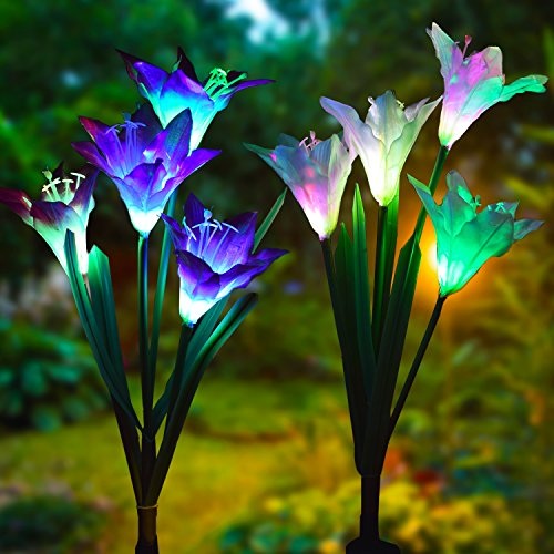 Outdoor Solar Garden Stake Lights - Doingart 2 Pack Solar Powered Lights with 8 Lily Flower, Multi-color Changing LED Solar Decorative Lights for Garden, Patio, Backyard (Purple and White) (Garden Ornaments Metal Butterfly)