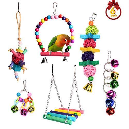 - Small Bird Cage Toys, Hanging Shrreding Swing Chew Bell Bird Toys for Cockatiel, Parakeets, Mynah, Coconut Bird, Love Birds, Sun Conure Bird Toys - 6 Pieces
