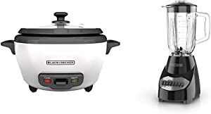BLACK+DECKER RC506 6-Cup Cooked/3-Cup Uncooked Rice Cooker and Food Steamer, White & Countertop Blender with 5-Cup Glass Jar, 10-Speed Settings, Black, BL2010BG