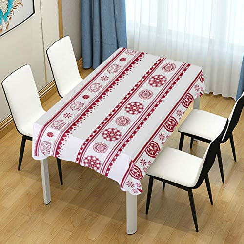 Painting Henna - MIGAGA Decor Tablecloth Set Henna Painting Inspired Seamless Border Multicolor Rectangular Table Cover for Dining Room Kitchen Outdoor Picnic