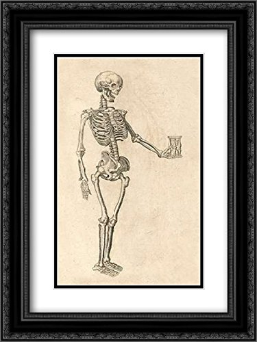 Human Skeleton with Hourglass 12x18 Black Ornate Frame and Double Matted Art Print by Bauhin, Caspar (Hourglass Ornate)